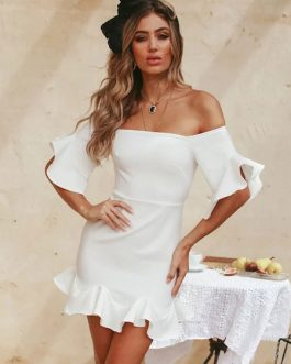 Sexy Bodycon Bell Sleeves Short Dress