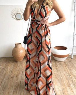 Sexy Geometric Lace-up Sleeveless Maxi Dress