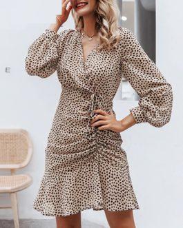 Sexy Leopard Ruffle Short Dress