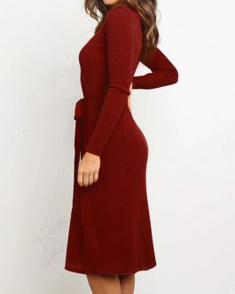 Sexy O Neck Long Sleeve A-Line Dress Ladies Knee Length Party Dress