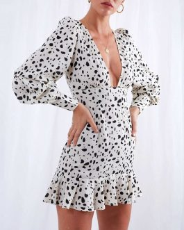 Sexy Print Long Sleeve Beach Holiday Party Dress