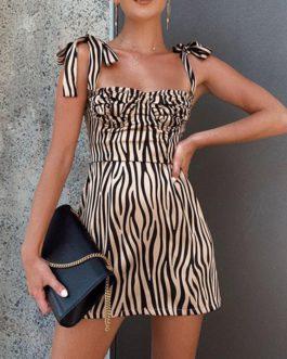 Sexy Sling Sleeveless Striped Mini Dress