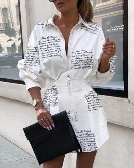 Sexy Turn-Down Collar Button Letter Print Shirt Dress