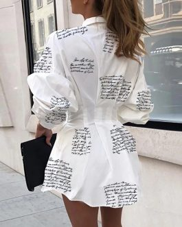 Sexy Turn-Down Collar Button Letter Print Shirt Dress