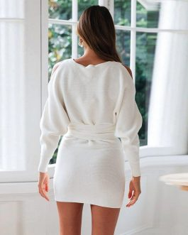 Sexy cold shoulder sweater dress