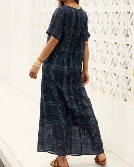 Short Sleeve Plaid Loose Maxi Dress