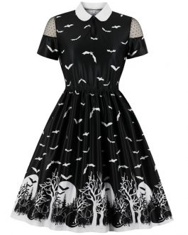 Short Sleeves Animal Print Rockabilly Dress