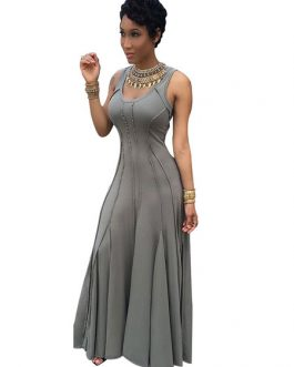 Sleeveless Pleated U Neck Long Dresses