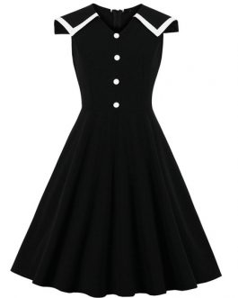 Sleeveless Turndown Collar Rockabilly Dress