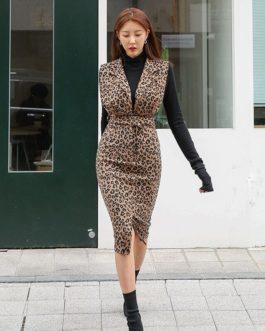 Sleeveless Vest Leopard Bodycon Dress