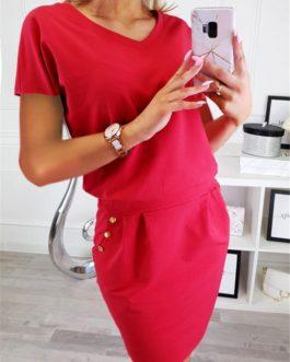 Solid Button Slim Mini Pencil Dress