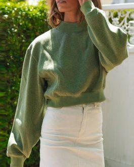 Solid Color Short Sweatshirt Fashion Crop Top