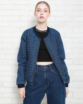 Slim Long Sleeve Splice Rib Stretch Denim Fancy Jacket