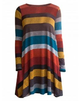 Striped Long Sleeve Long line Knitwear