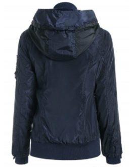 Stylish Hooded Long Sleeve Zip Up Spliced Women's Coat