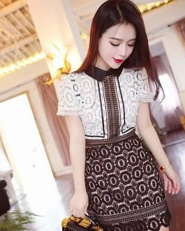 Sweet Lace Hollow out Patchwork Dress