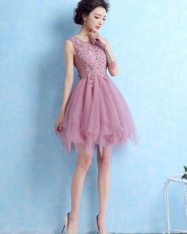 Tulle Cocktail Lace Applique Sleeveless Tiered Homecoming Prom Dress