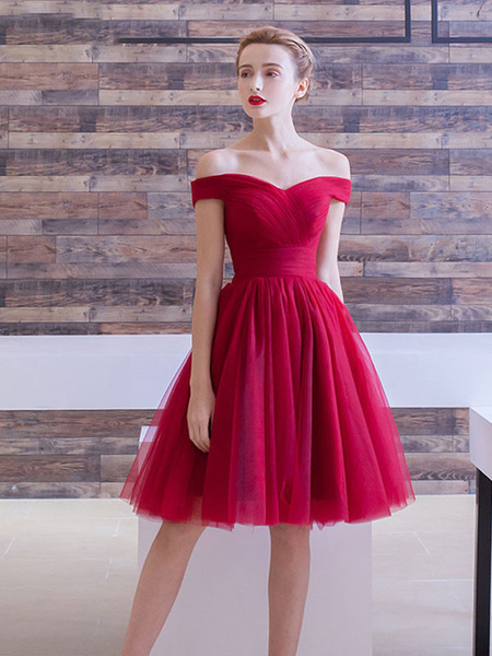 complete in specifications website for discount luxury Tulle Cocktail Off The Shoulder Knee Length Prom Dress
