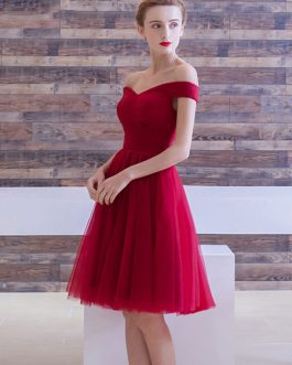 Tulle Cocktail Off The Shoulder Knee Length Prom Dress