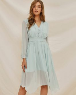 V Neck Button Irregular Hem Swing Dress