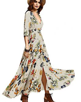 V Neck Half Sleeve Printed Slit Long Dress