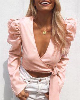 V-Neck Vintage Puff Sleeve Blusas Faminina Crop Top
