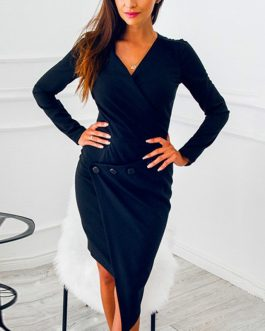 V-neck Casual Long Sleeve Midi Party Dress