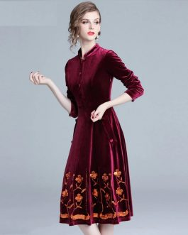 Velvet Embroidery Elegant Vintage party dress