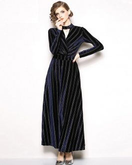 Velvet Evening party Elegant Striped Vintage Maxi Dress
