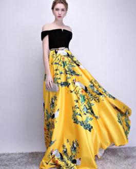 Velvet Satin Floor Length Evening Party Dress