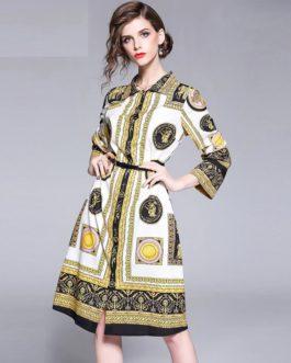 Vestidos Femme Full Sleeve Knee-Length Dresses