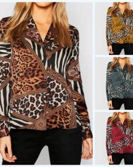 Vintage Animal Print Leopard Blouses