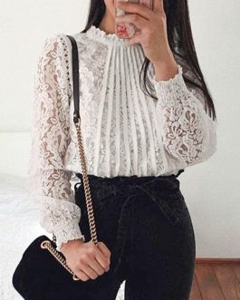 Vintage Embroidery Hollow out Office Lady Shirt Top