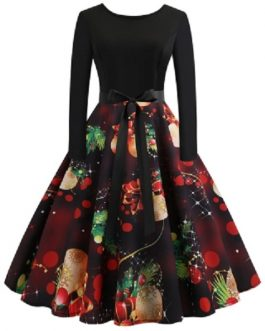 Vintage Long Sleeves Printed Pin Up Dress