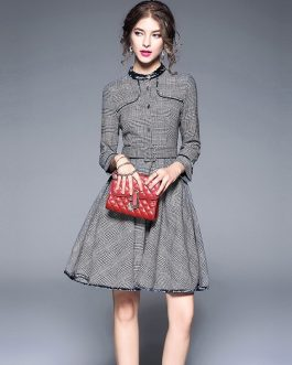Vintage Plaid full Sleeve Sashes Mini Ball dress