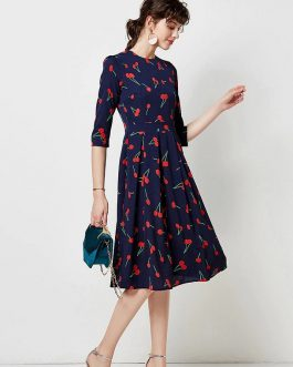 Vintage Print Elegant A-line Party Midi Dress