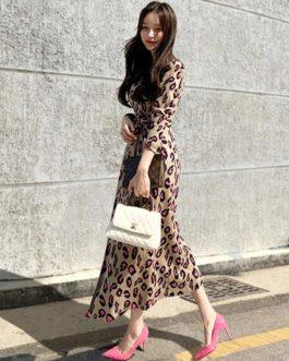 Vintage Print Leopard Long Dress