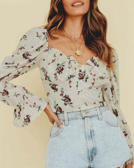 Vintage Square Collar Floral Shirt