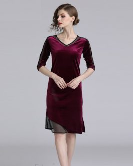 Vintage V-Neck Patchwork fashion office party short dress