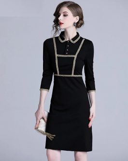 Vintage elegant office work slim party dress