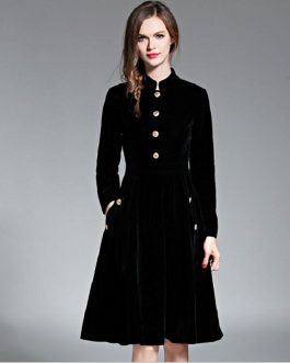 Warm Velvet Slim long-sleeved Knee-Length dress