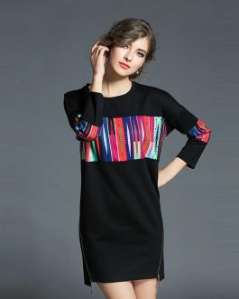 Wrist Sleeve Patchwork Zippers Loose Casual short dress