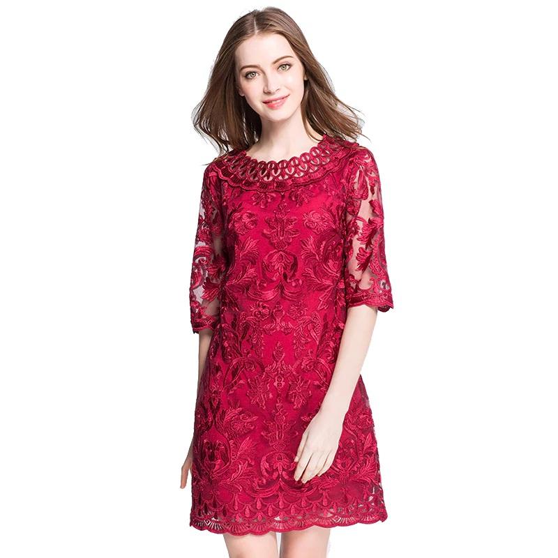 lace embroidery Plus size Vestidos short Dress