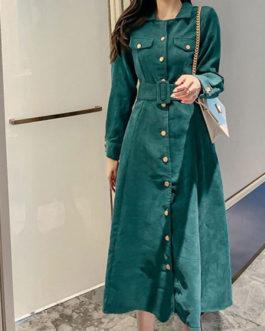 Turndown Collar Buttons Long Sleeves Polyester Oversized Shirt Dresses