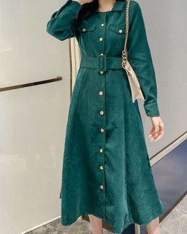 Turndown Collar Buttons Long Sleeves Polyester Oversized Shirt Dresses