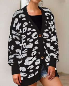 Cardigans Long Sleeve V Neck Animal Print