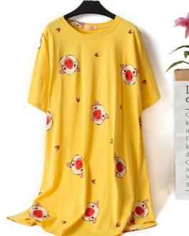 Cartoon Pig Printing Cotton Nightgown