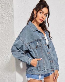 Casual Double Pocket Streetwear Denim Jacket