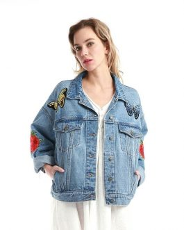 Casual Embroidery Long Sleeve Cotton Denim Fancy Jacket