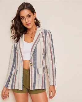 Casual Flap Pocket Single Button Outwear Blazers
